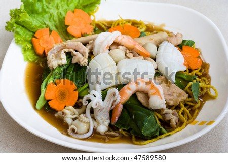 Image of Thai seafood noodle - stock photo