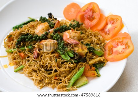 Image of Thai spicy seafood noodle - stock photo