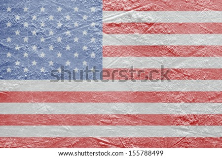 Image of the American flag on a hockey rink. Texture, background - stock photo