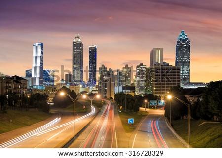 Image of the Atlanta skyline during twilight  USA - stock photo