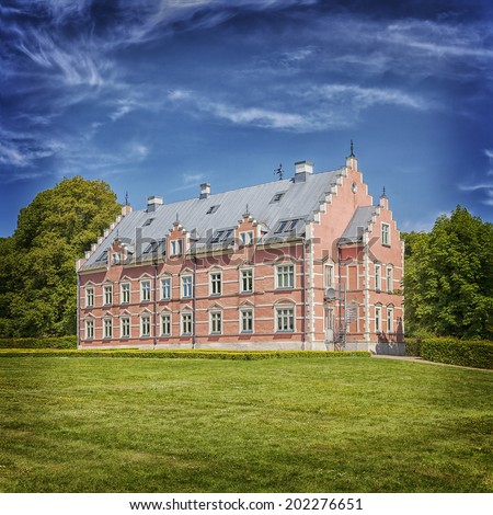 Image of the castle estate of Palsjo, built in 1676. Helsingborg, Sweden. - stock photo