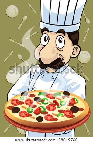Image of the chef who is cooking delicious pizza - stock photo