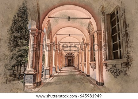 Image of the cloister arches inside a monastery. Architectural background.
