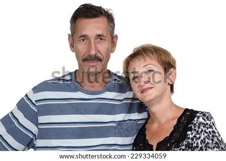 Image of the happy old man and woman on white background