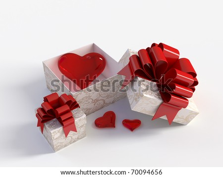 image of the heart in a gift box - stock photo