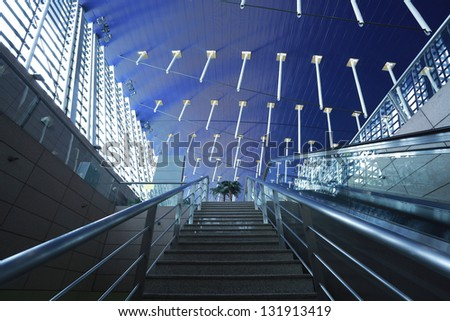 image of the interior in morden waiting hall building - stock photo