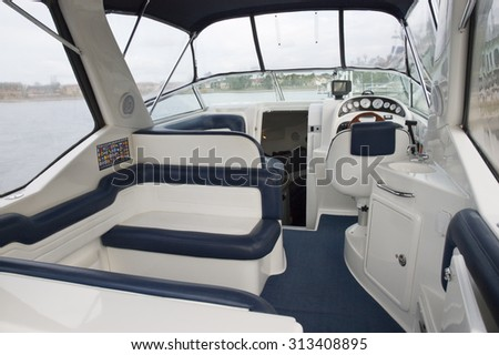 Image of the interior of a small transport motorboat