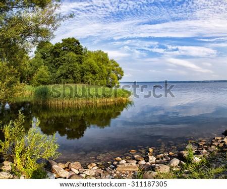 Image of the lake Ringsjon, in central Scania, Sweden.  - stock photo