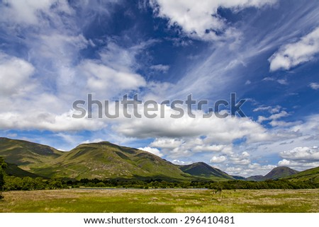 Image of the lush landscape around Kilchurn Castle and Loch Awe. Scotland. - stock photo