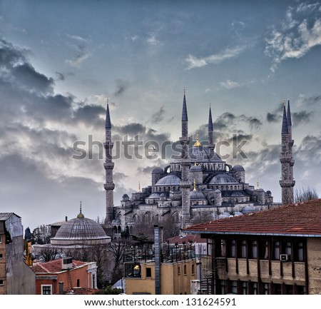 Image of the majestic blue mosque in Istanbul, Turkey. - stock photo