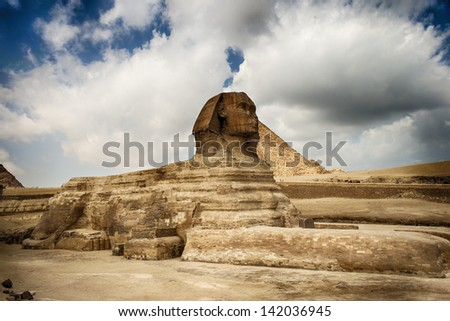 Image of the majestic Sphinx statue at Giza in Cairo Egypt. - stock photo