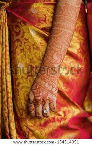 Image of the mehndi Indian wedding henna tatoo - stock photo