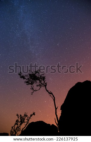 Image of the Milky Way galaxy from Earth - stock photo