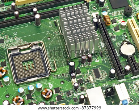 image of the motherboard without a PC processor closeup - stock photo