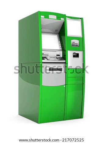 image of the new ATM on white background - stock photo