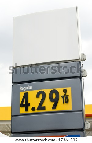Image of the numerical gasoline price at a gas station - stock photo