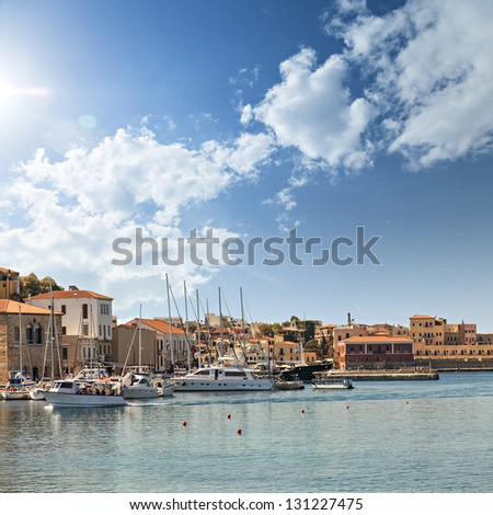 Image of the port in Chania on the greek island of Crete. - stock photo
