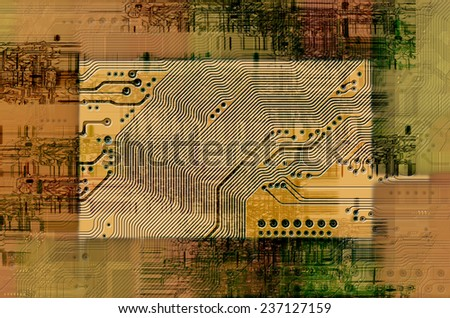 Image of the printed circuit - motherboard - technology abstract - stock photo