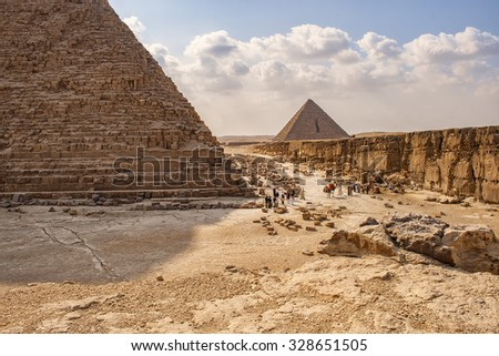 Image of the pyramids of Giza in Cairo, Egypt.  - stock photo