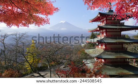 Image of the sacred mountain of Fuji in the background of blue sky at Japan for adv or others purpose use - stock photo