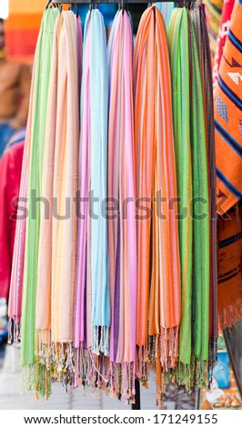 image of the scarfs on the street market - stock photo