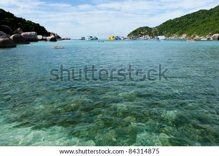 Image of the sea as they  move towards  the shore.