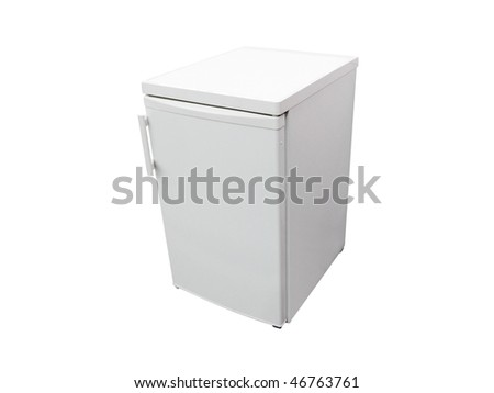 Image of the small dark grey refrigerator under the white background - stock photo
