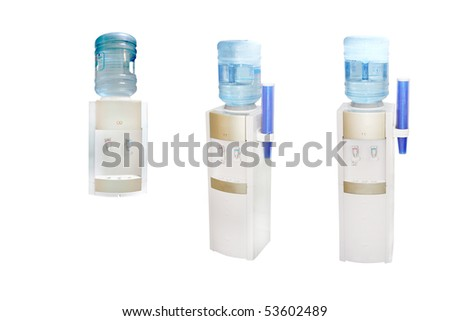 Image of the three coolers under the white background - stock photo