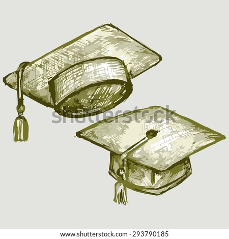 Image of the top hat. Graduation Cap. Student hat. Raster version - stock photo