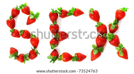 "Image of the word ""sex"" painted from a strawberry - stock photo"