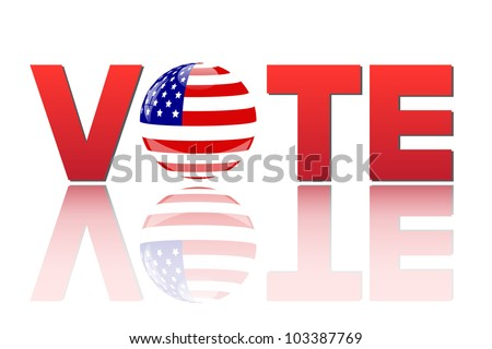 Image of the word vote with the flag of the United States of America isolated on a white background. - stock photo