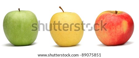 Image of three apples against a white background.