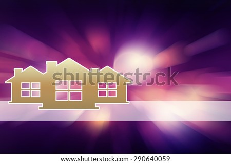 image of three houses with colorful blurred background. suitable for housing ads or graphics information about property investment - stock photo