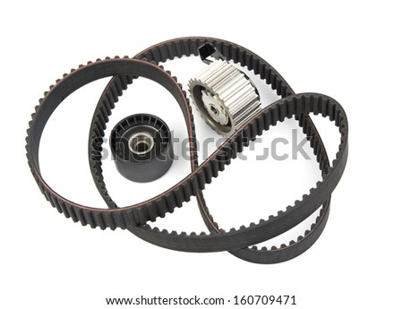 Image of timing belt with rollers isolated - stock photo