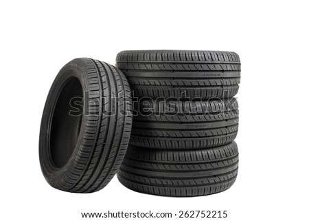 Image of Tires isolated on white, special color effect - stock photo
