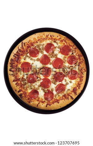 Image of top full view of pepperoni pizza isolated on white background - stock photo