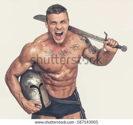 Image of topless screaming warrior - stock photo