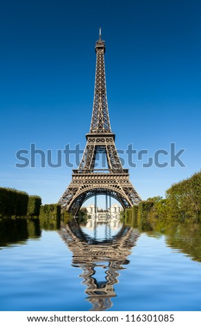 Image of Tour Eiffel reflected in water - stock photo