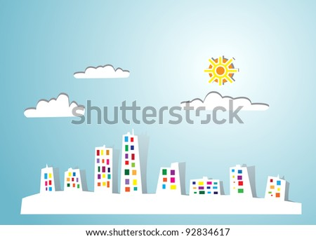 Image of town or city made of paper art (origami). Concept modern city - stock photo