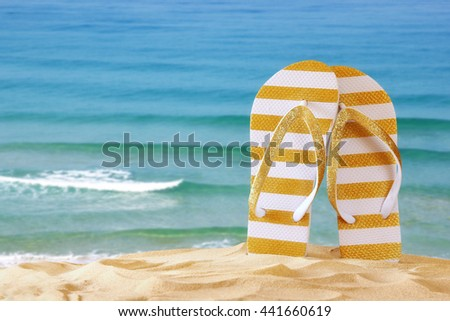Image of tropical sandy beach and flip flops. Summer concept