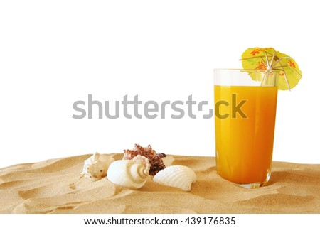 Image of tropical sandy beach, fruit cocktail and seashells. Summer concept. isolated on white - stock photo