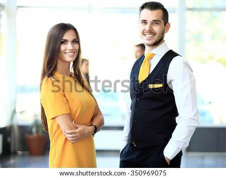 Image of two business partners planning work - stock photo