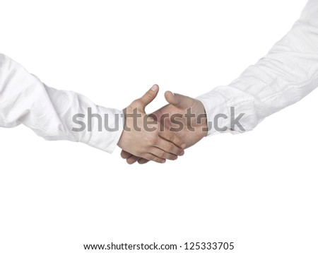 Image of two businessmen wearing a white long sleeve congratulating each other