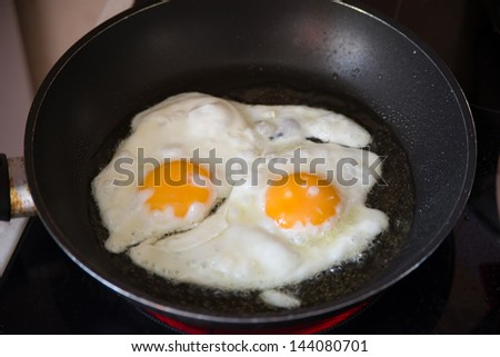 Image of two fried eggs in a frying pan - stock photo