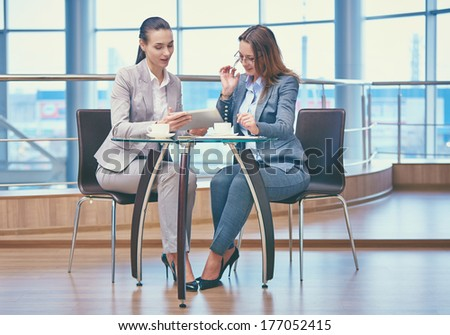 Image of two friendly businesswomen discussing computer project in office - stock photo