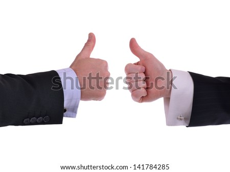 image of two hands giving thumbs up sign - stock photo