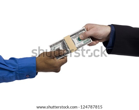 Image of two hands holding the bunch of US dollar isolated on a white background