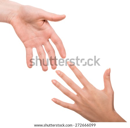 Image of two hands of man and woman on white background. - stock photo