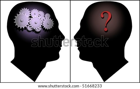 Image of two silhouettes illustrating the concept of questions and answers. - stock photo