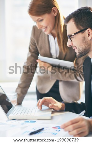 Image of two successful business partners at meeting - stock photo